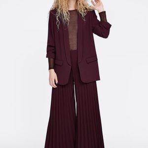 Zara Maroon/Burgundy Crepe Blazer